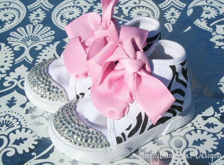 Zebra Swarovski Bling Baby Shoes
