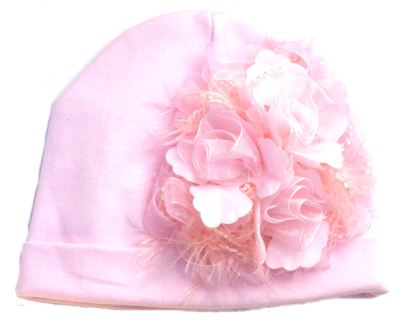 Shabby Chic Chenille Baby Cotton Hat-pink, organza, infant, cotton, flower hat, newborn, baby girl