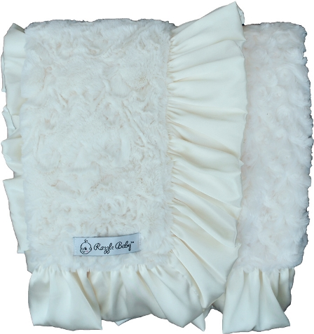 Ivory Dynasty Plush Ruffle Baby Blanket-off white, cream, ivory, plush, baby blanket, baby girl, ruffle, satin