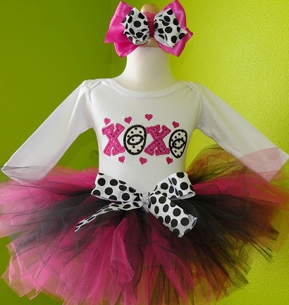 Hugs & Kisses Valentine Tutu Set-pink, black, white, love, valentine, valentine's day, valentines