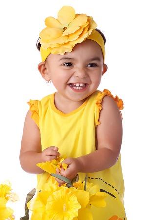 Yellow Rose Flower Headband-yellow, bright