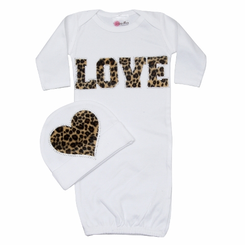 Bundle of Love Cheetah LOVE Outfit Set -White
