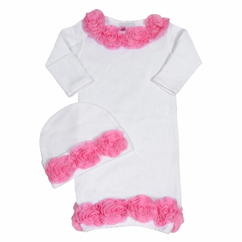 Bundle Of Love Pink Rose Garden Infant Gown Outfit