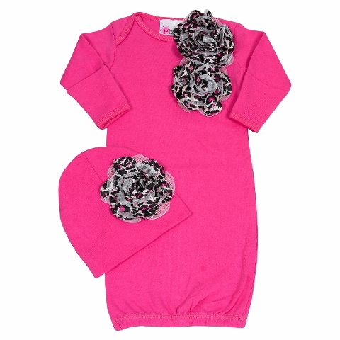 Bundle Of Love Pink Cheetah Infant Outfit-take home, newborn, sac, gown, hot pink, black, leopard print, cheetah, animal, hat, shocking pink