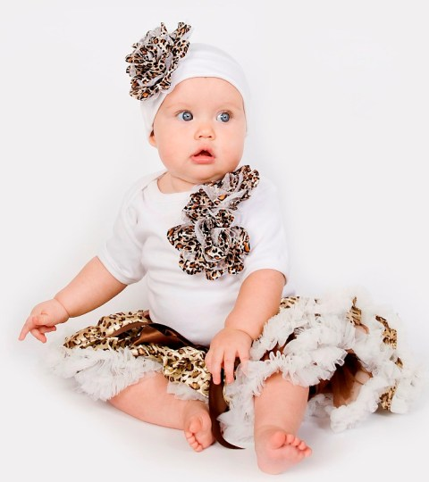 Cheetah Baby Pettiskirt Outfit Set-leopard, white, animal print, infant