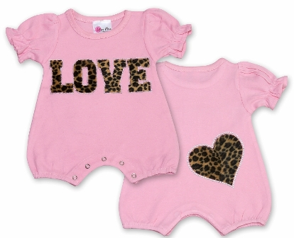 Pink Baby Love Cheetah Love Romper