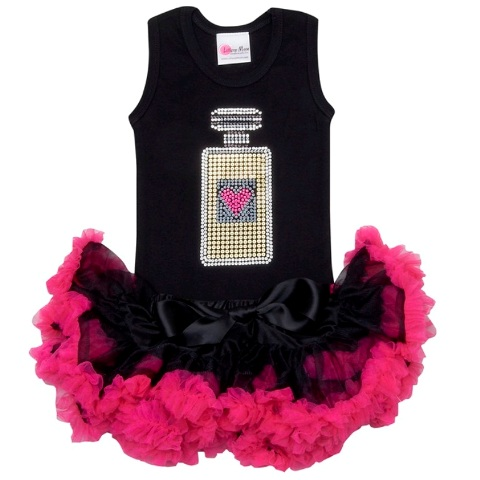 Glitzy Perfume Pettiskirt Tutu Set-outfit, bling, shocking pink, hot pink, pink, black, set