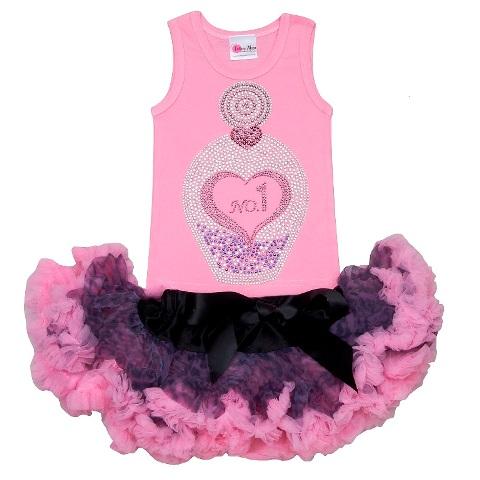 Glitzy Rhinestone Perfume Pettiskirt Tutu Set-bling, pink, outfit, set