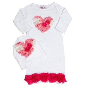 Bundle Of Love Multi Color Pink Rose Heart Infant Outfit-gown, sac, sack, gown and hat, newborn, take me homw, take home, outfit, white and pink, hot pink