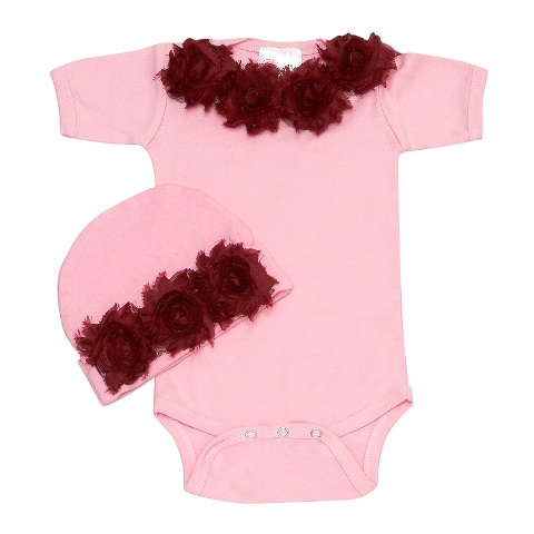 Shabby Chic Bordo Baby Romper Set-onesie, pink, hat, outfit, set