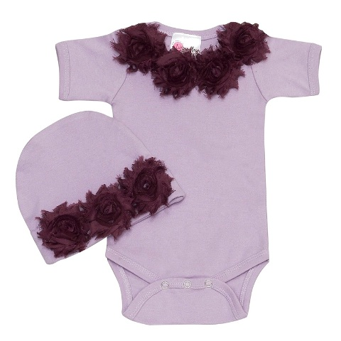 Shabby Chic Lavender Baby Romper Set-outfit, onesie, outfit, set purple, hat