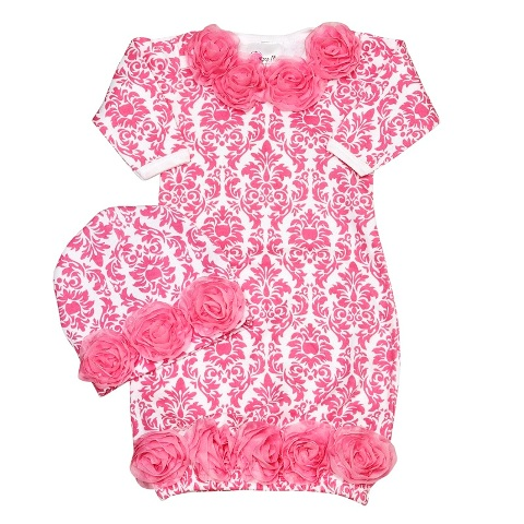 Bundle Of Love Pink Damask Baby Gown Set-pink and white, damask, sack, sac, infant, gown, take me home, set