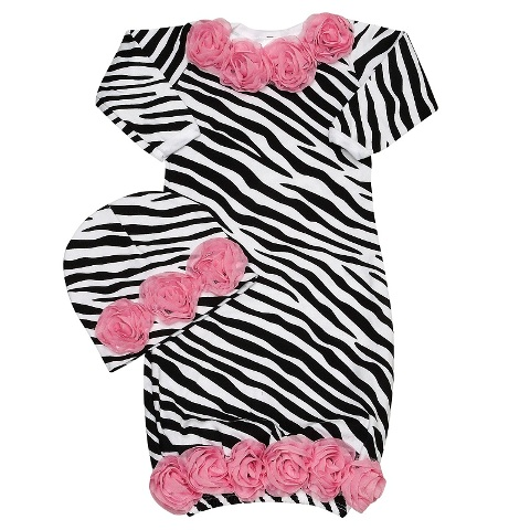 Wild Child Pink Zebra Rose Gown Set
