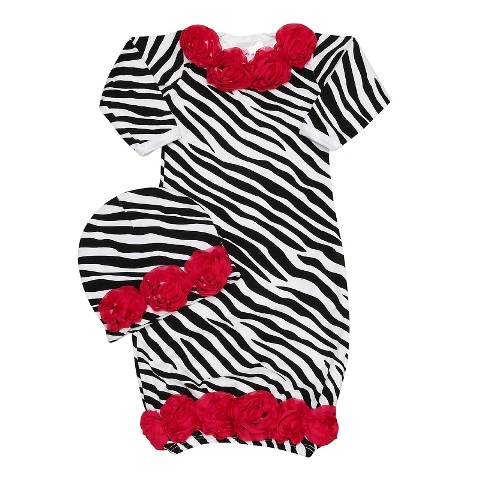 Wild Child Hot Pink Zebra Rose Gown Set