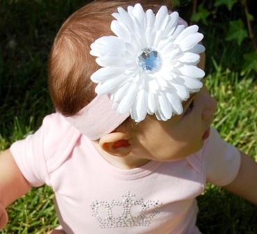 White Daisy Flowerband-infant, baby, headband