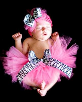 Zebra Rocks Little Girls Hot Pink Tutu Headband Set