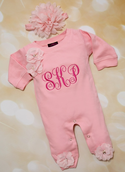 Personalized Pink Baby Girl Monogrammed Romper with Matching Headband