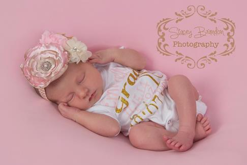 Pink & Gold Newborn Princess Birth Facts Custom Bling Onesie