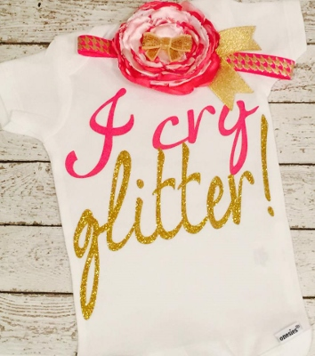 Hot Pink & Gold I Cry Glitter Onesie