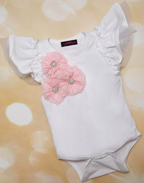 White Ruffle Tulle Sleeve Onesie with Pink Flower Accents