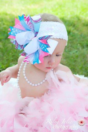 Sweet Tart Over the Top Hair Bow Headband