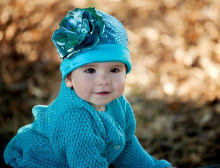Turquoise Couture Sequin Flower Hat