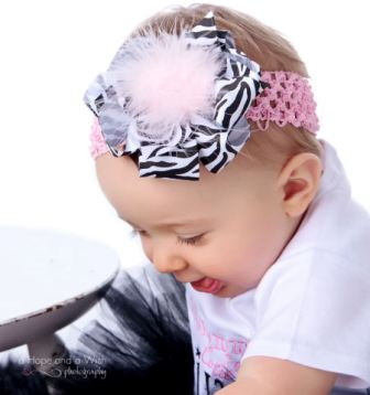 Animal Print Girly Diva Zebra Baby Hair Bow Headband-zebra, pink, infant, baby girl, boutique hairbow, headband