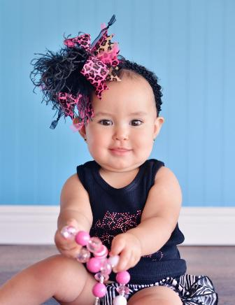 Neon Pink and Black Leopard Over the Top Hair Bow Headband