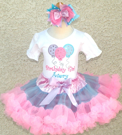 Birthday Girl Pastel Sparkle Balloons Petti Skirt Outfit Set