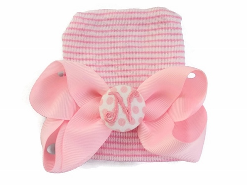 Baby Pink Newborn Hospital Hat with Personalized Hair Bow