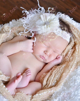 Cream & Gold Ruffle Flower Feather Infant Lace Headband