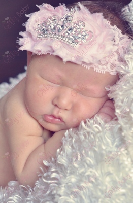 Shabby Light Pink Tiara Crown Infant Headband