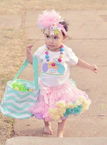Pastel Easter Eggs Shirt Outfit Pettiskirt Set