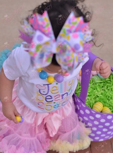 Pastel Jellybeans Baby Girls Easter Shirt Outfit Set