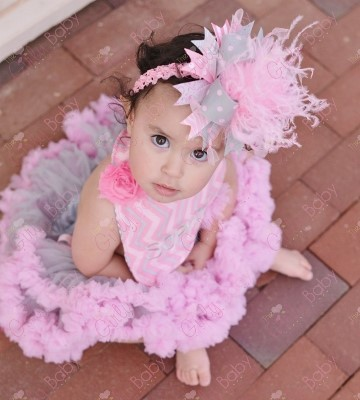 Gray and Pink Over the Top Big Hair Bow Headband with Feathers
