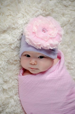Pale Pink & Lavender Lace Rose Cotton Flower Hat