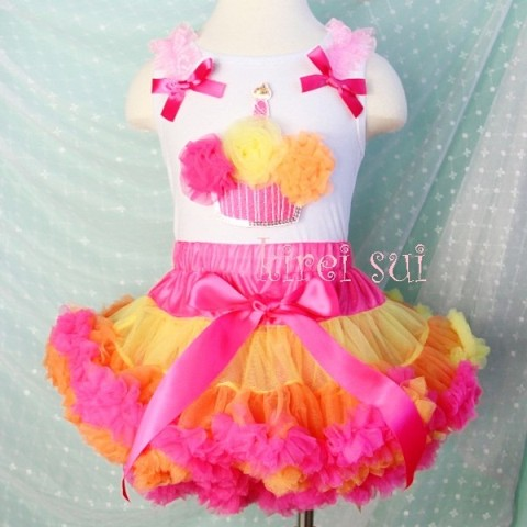 Colorful Hot Pink Yellow Orange Cupcake Pettiskirt & Tank Outfit Set
