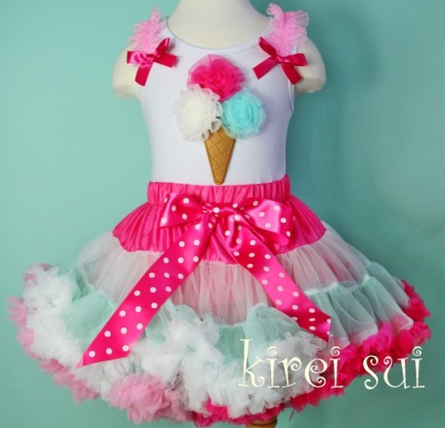 Sweet Hot Pink Ice Cream Cone Mint Pettiskirt Tank Outfit Set