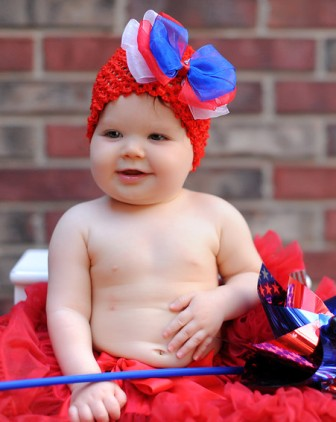 Lil' American Beauty Bow Crochet Hat