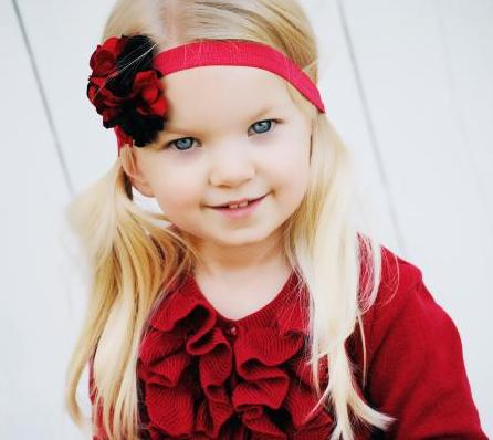 Black Red Geranium Flower Headband