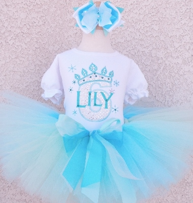 Girls Frozen Aqua Queen Sparkly Personalized Tutu Outfit