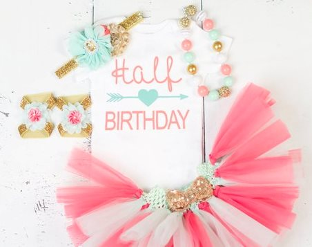 Mint and Coral Half Birthday Baby Girl Tutu Outfit