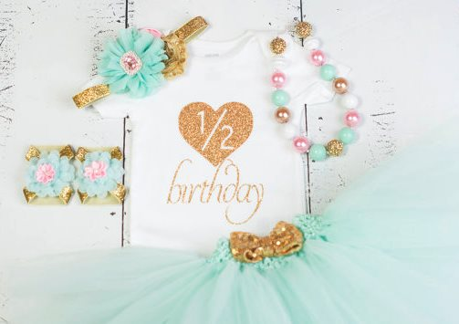 Gold and Mint Half Birthday Baby Girl Onesie Tutu Outfit