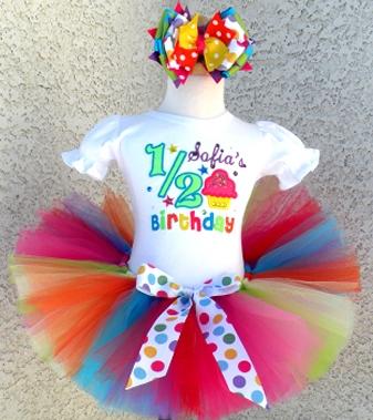 Girls Half 12 Birthday Shirt Tutu Outfit Set