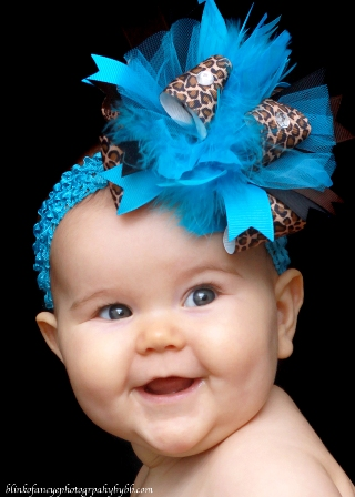 Turquoise Safari Over the Top Hair Bow Headband