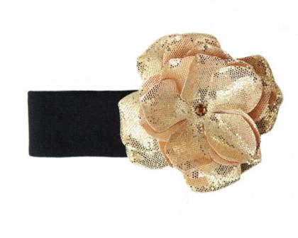 Black & Gold Rose Sequin Flower Headband