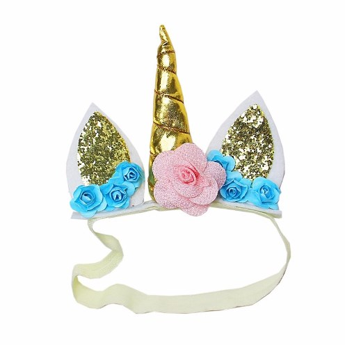Baby Girls Light Pink Blue Flower Gold Unicorn Headband