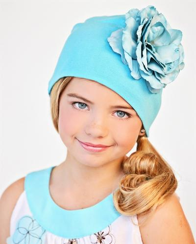 Teal Rose Flower Hat