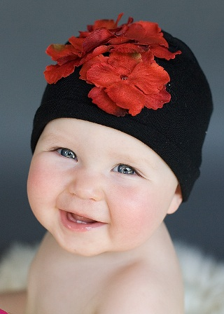 Black & Red Hydrangea Flower Hat