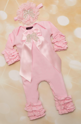 Baby Girls Pink Rhinestone Bow Ruffle Romper with Matching Flower Headband Outfit Set